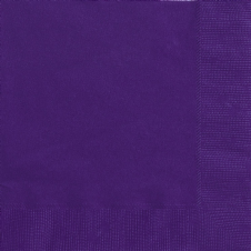 20 Purple Paper Party Beverage Napkins